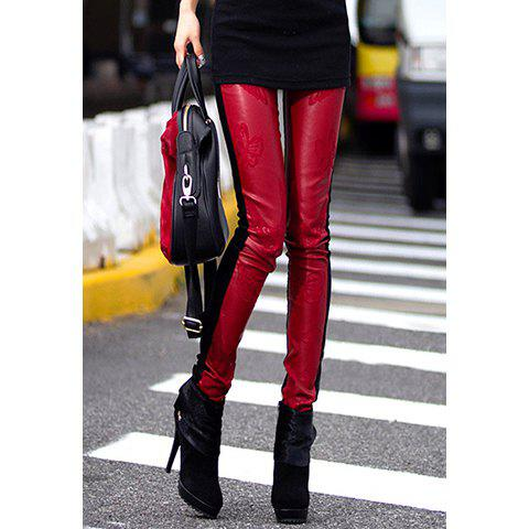 Buy Casual Style Contrast Color Butterfly Embroidery Leggings Women M