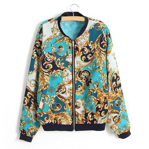 Latest Stand Collar Vintage Style Printing Long Sleeve Women's Jacket