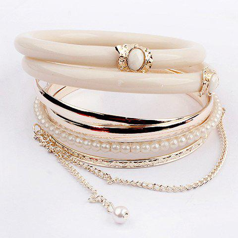 Trendy 6 PCS Stylish Faux Pearl Decorated Multilayered Bracelets For Women