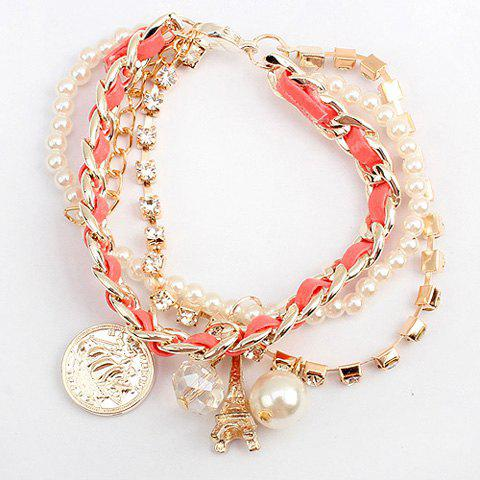 Faux Pearl Bead Tower Coin Multilayered Bracelet - COLOR ASSORTED
