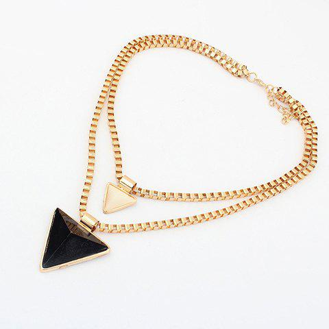 Triangle Pendant Alloy Multilayered Necklace - AS THE PICTURE