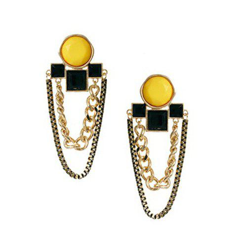 Online Pair Of Characteristic Chains Embellished Geometric Drop Earrings For Women