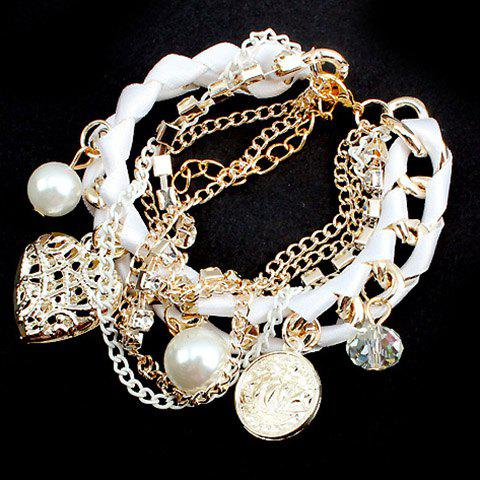 Discount Heart Shape Pendant Faux Pearls Embellished Bracelet