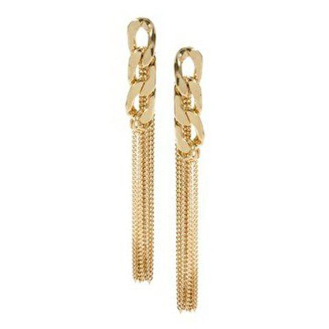 Sale Pair of Alloy Chain Design Long Tassel Drop Earrings