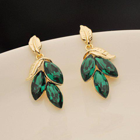 Latest Pair of Faux Gem Embellished Leaf Shape Drop Earrings AS THE PICTURE