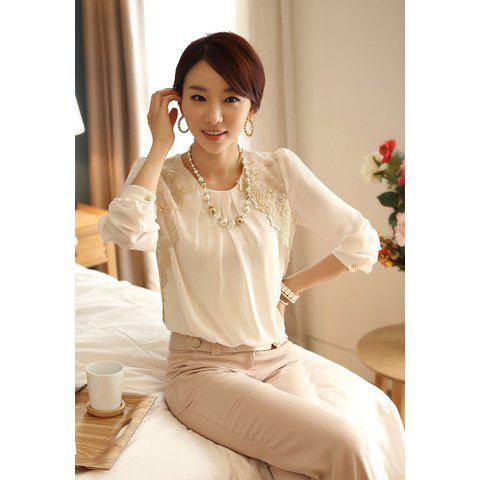 Long Sleeves Scoop Neck Lace Embroidered Stitching Shirred Blouse $8.84 AT vintagedancer.com
