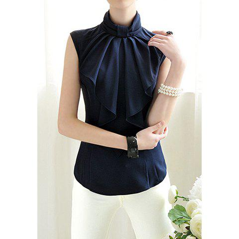 cc34028129c7c2 [32% OFF] Elegant Style Sleeveless Stand Collar Bow Tie Solid Color Chiffon Women's  Blouse | Rosegal