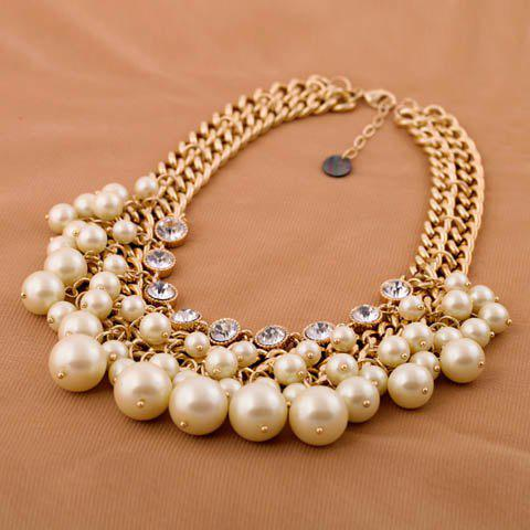 Hot Fashionable Rhinestone Faux Pearl Decorated Necklace For Women AS THE PICTURE