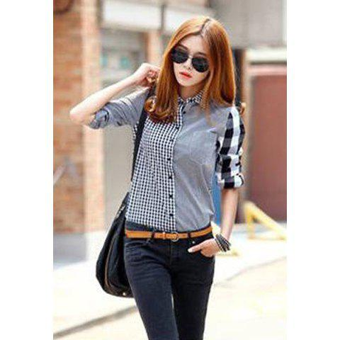 Chic Long Sleeves Shirt Collar Checked Pattern Stitching Single-breasted Laconic Style Stylish Women's Shirt