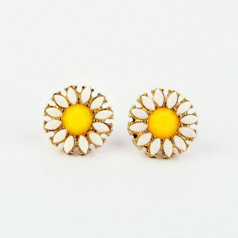 Fashion Faux Gem Daisy Stud Earrings