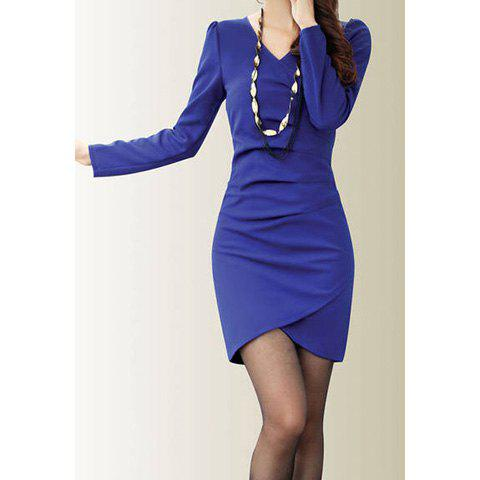 Latest Solid Color V-Neck Long Sleeves Polyester Noble Style Women's Dress