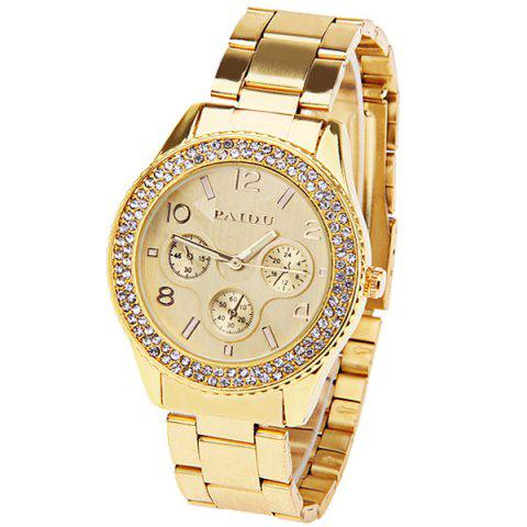 Cheap Paidu Quartz Watch with Arabic Numbers and Rectangle Indicate Steel Watch Band for Women (Golden)