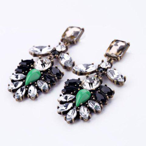 Trendy Pair of Vintage Exaggerated Gemstone Embellished Earrings For Women AS THE PICTURE