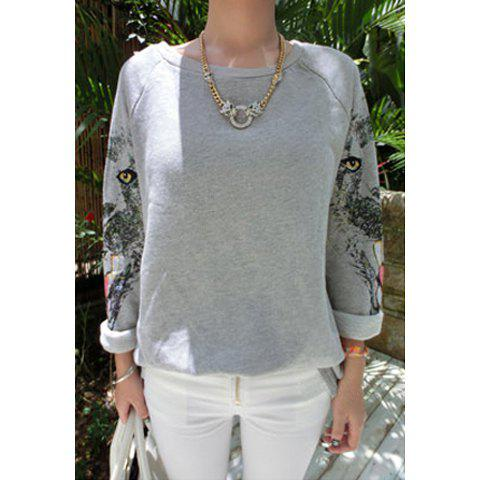 Latest Leopard Print Long Sleeves Round Neck Cotton Blend Casual Style Women's T-Shirt