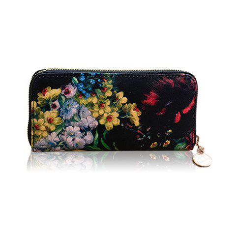 Outfits Stylish Floral Print and Zipper Design Women's Wallet - BLACK  Mobile