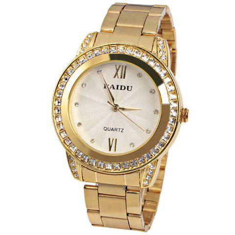 Hot Paidu Quartz Watch 2 Roman Number and Diamond Dots Indicate Steel Watch Band for Women - White Dial