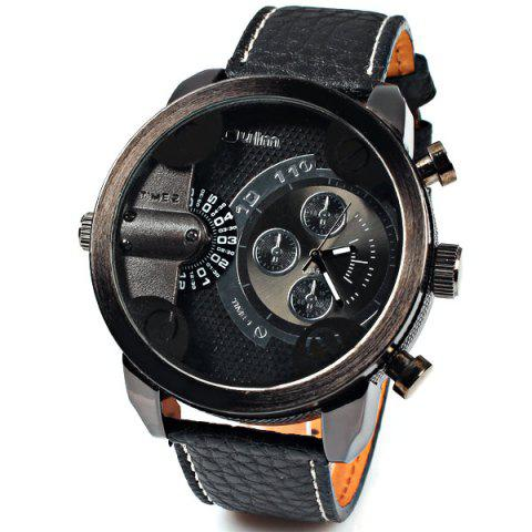 Online Oulm Quartz Watch with Double Movt Numbers and Strips Indicate Round Dial Leather Watchband for Men