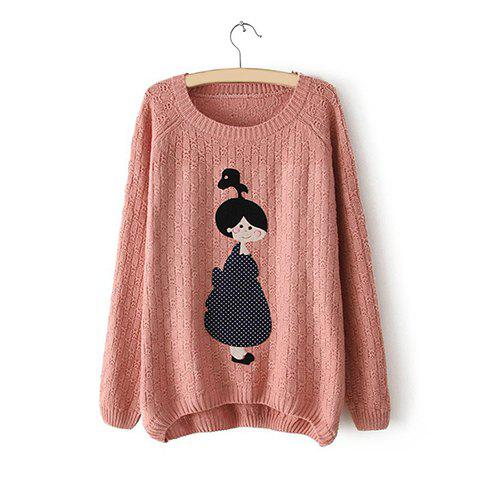 Sale Casual Style Scoop Neck Little Girl Applique Asymmetrical Long Sleeve Sweater For Women