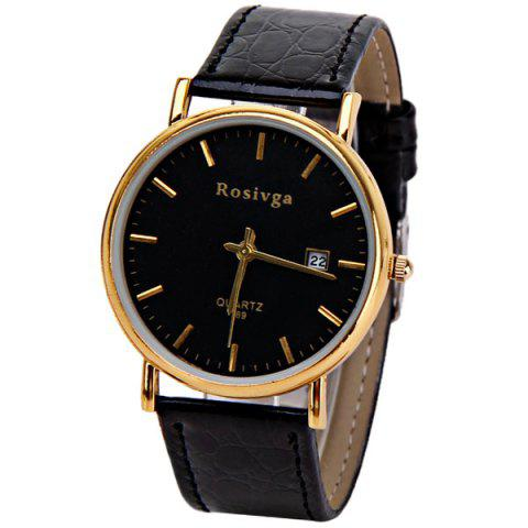 Unique Rosivga Quartz Watch with Strips Indicate Leather Watch Band for Men - White