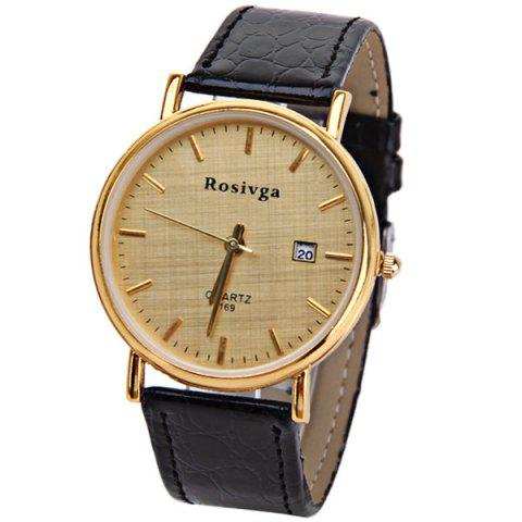 Buy Rosivga Quartz Watch with Strips Indicate Leather Watch Band for Men - White