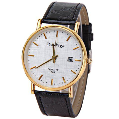 Trendy Rosivga Quartz Watch with Strips Indicate Leather Watch Band for Men - White