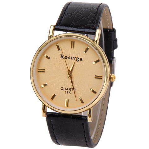 Buy Rosivga Quartz Watch with Rectangles Indicate Leather Watch Band for Men - White GOLDEN