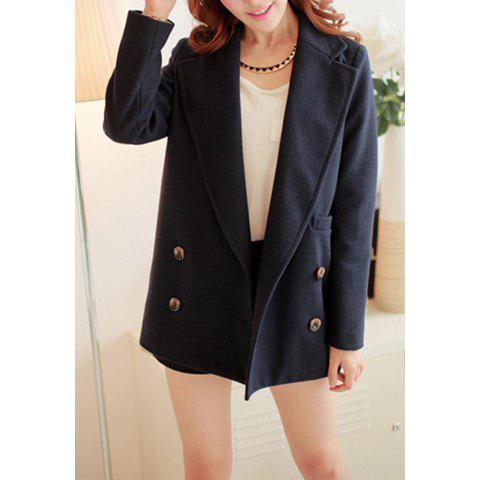 Hot Simple Design Lapel Solid Color Button Long Sleeve Coat For Women