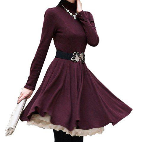 Cheap Long Sleeves Turtle Neck Beam Waist Ruffles Slimming Ladylike Women's Dress(Without Belt)