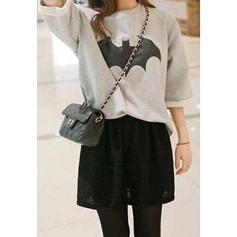 Outfits Long Sleeves Round Neck Bat Pattern Laconic Style Loose-Fitting Women's Decorative Sweatshirt