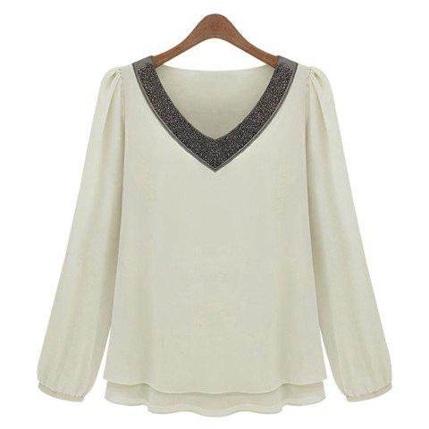 Shop V-Neck Long Sleeves Chiffon Color Block Casual Style Women's Blouse