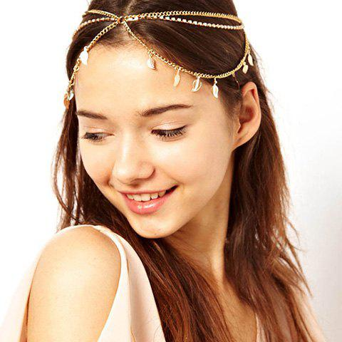 Unique Elegant Style Leaf Pendants and Tassel Embellished Multilayer Hairband For Women