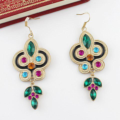 Fancy Pair Of Bohemian Ethnic Style Rhinestone Embellished Leaf Shape Drop Earrings For Women