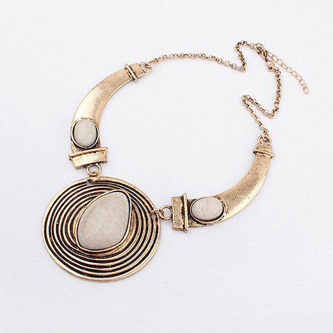 Hot Statement Faux Gem and Screw Thread Embellished Round Pendant Necklace