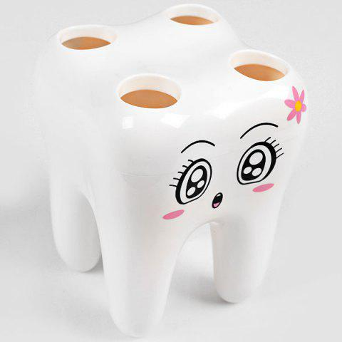Fashion High Quality ABS Materials Tooth Shape Toothbrush Holder - White -   Mobile