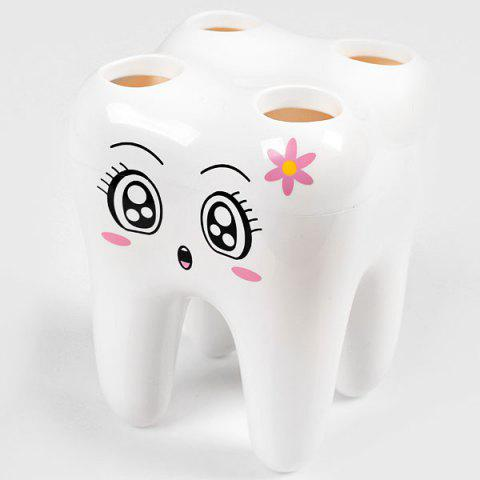 High Quality ABS Materials Tooth Shape Toothbrush Holder - White -