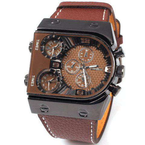 Oulm Multi-Function 3-Movt Quartz Leather Wristwatch Men Military Sports Watch - Brown