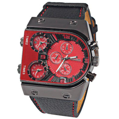 Outfits Oulm Multi-Function 3-Movt Quartz Leather Wristwatch Men Military Sports Watch RED