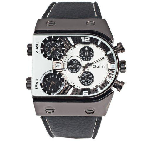 Trendy Oulm Multi-Function 3-Movt Quartz Leather Wristwatch Men Military Sports Watch - WHITE  Mobile