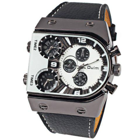 Fancy Oulm Multi-Function 3-Movt Quartz Leather Wristwatch Men Military Sports Watch - WHITE  Mobile