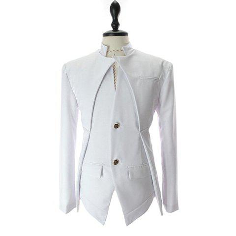 Korean Fashionable Style Asymmetric Design Slimming Two Button Blazer For Men - WHITE - M
