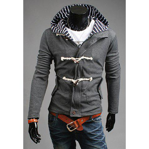 Fashion Hooded Stripe Splicing Horn Button Embellished Long Sleeves Cotton Blend Coat For Men - GRAY - L