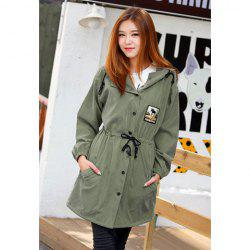 Casual Hooded Patch and Drawstring Waist Design Long Sleeves Cotton Women's Coat -