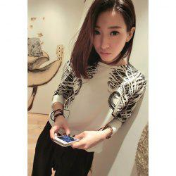 Casual Style Scoop Neck Floral Print Irregular Long Sleeve Chiffon T-Shirt For Women -