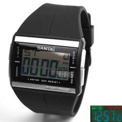 Santai Waterproof Rubber Band Watches with Green LED Display Numbers Rectangle Shaped