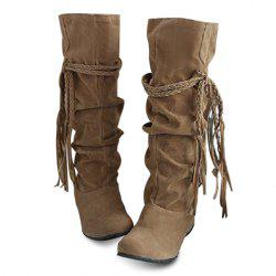 Concise Tassels and Pure Color Design Women's Boots - LIGHT YELLOW
