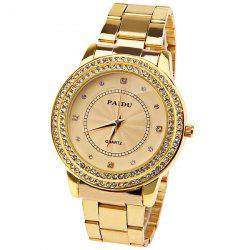 Paidu Quartz Watch with Diamond Squares and Dots Indicate Steel Watch Band for Women - Golden -