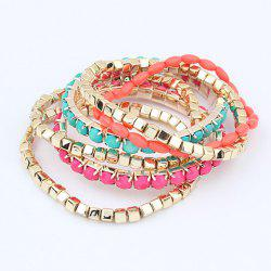 6 PCS Easy Matching Colorful Multilayered Stretch Bracelets For Women -