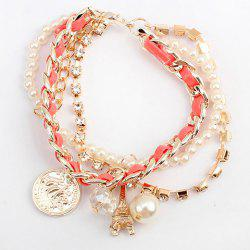 Faux Pearl Bead Tower Coin Multilayered Bracelet -