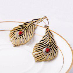Heart Peacock Feather Drop Earrings -