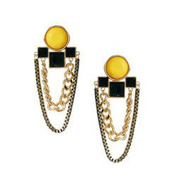 Pair Of Characteristic Chains Embellished Geometric Drop Earrings For Women -
